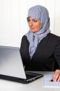 Islamische Frau mit Kopftuch